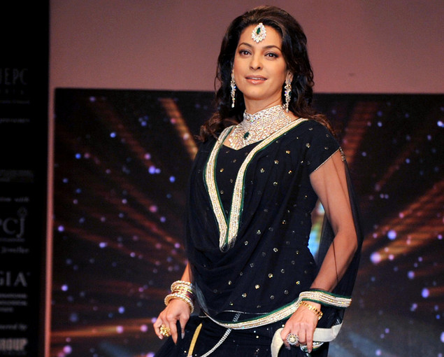 Juhi Chawla showcases jewellery designer Kays Jewels creations as she walks the ramp during the third day of India International Jewellery Week 2012 (IIJW) in Mumbai on August 21, 2012.