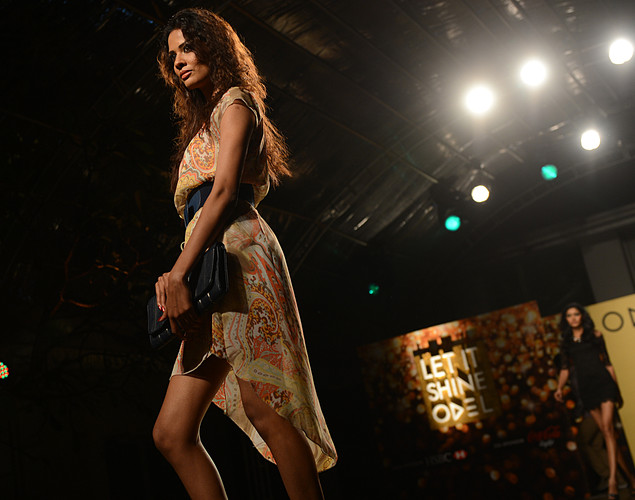 A Sri Lankan model displays a creation by local designer Odel during a fashion event in Colombo.