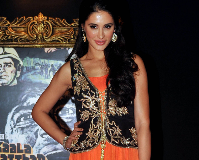Nargis Fakri poses on the red carpet at the premiere of the Hindi film 'Jab Tak Hai Jaan' in Mumbai on November 12, 2012.