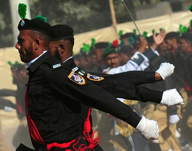 Pakistani police cadets march during passing out parade in Karachi.