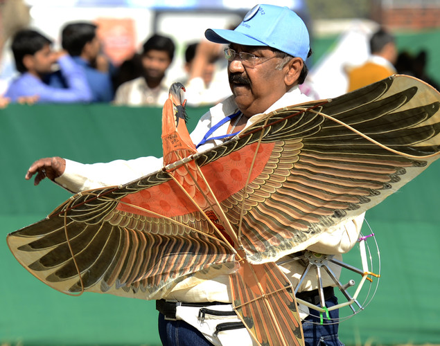 An Indian enthisiast carries a kite during the Delhi International Kite Festival 2012 on the lawns of the India Gate monument in New Delhi.