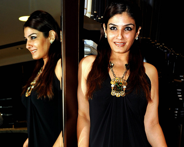 Raveena Tandon poses during the launch of a jewellery line by Poonam Soni in Mumbai on September 6, 2012.