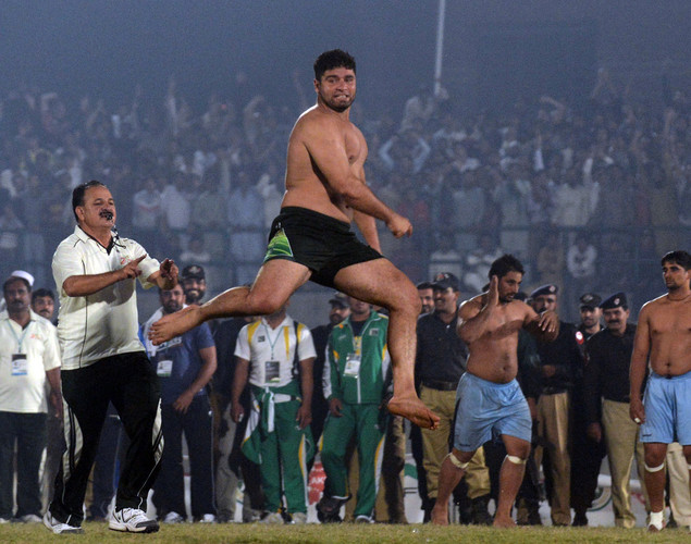 A Pakistani kabbadi player reacts during the Kabaddi Asia Cup final match against India in Lahore. Pakistan won the 2012 Kabaddi Asia Cup final match against India.