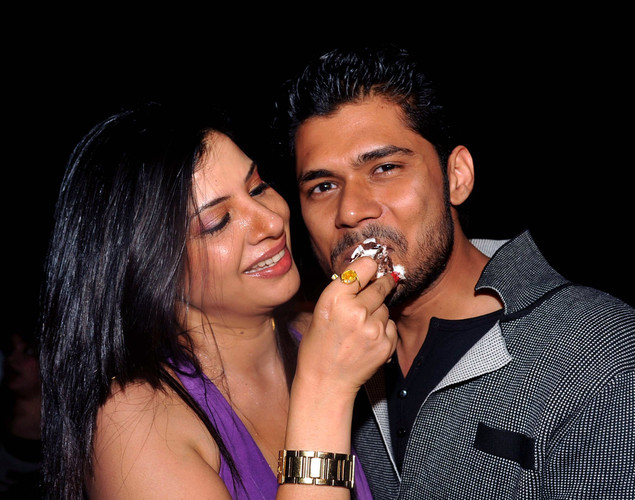 Indian Bollywood dancer and actress Sambhavna Seth, (L), with boyfriend Avinash Diwedi, celebrated her '12.12.12' birthday in Mumbai.