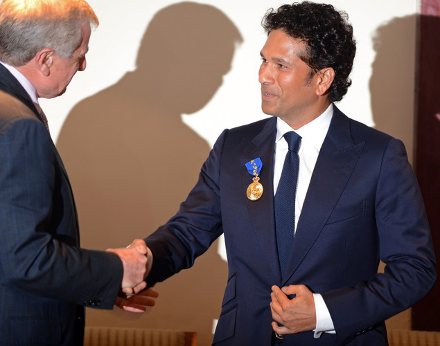 Arts Minister Simon Crean conferred the award on the cricketer at a ceremony in Mumbai, Tendulkar's home city, after the honour was announced by Prime Minister Julia Gillard during her visit to India last month.
