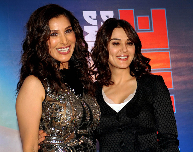 Bollywood film actress and singer Sophie Choudry (L) poses with film actress Preity Zinta during the launch of her new video 'Hungama Ho Gaya', a remix of the yesteryear song, in Mumbai.