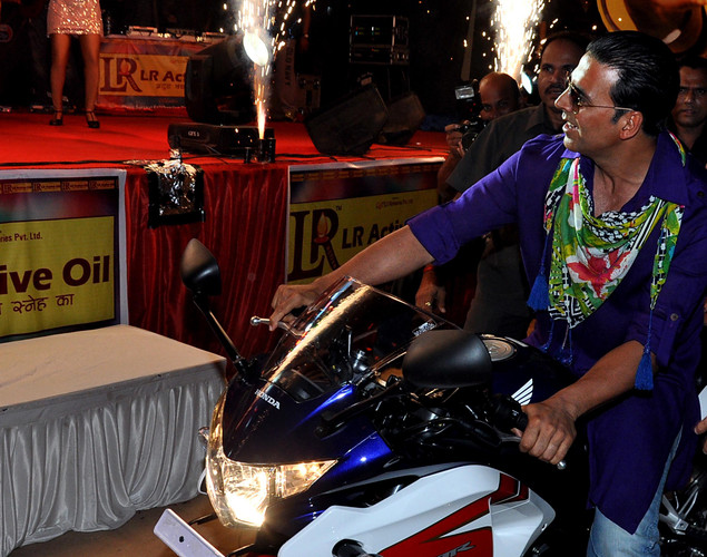 "Indian Bollywood actor Akshay Kumar arrives for a promotional event for the forthcoming Hindi film ""Khiladi 786"" directed by Ashish R Mohan in Mumbai."