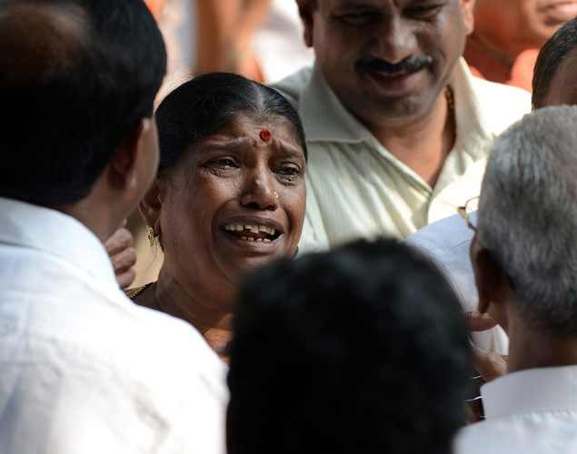 A supporter breaks down outside the residence of ailing right wing Hindu party Shiv Sena supremo Bal Thackeray in Mumbai.