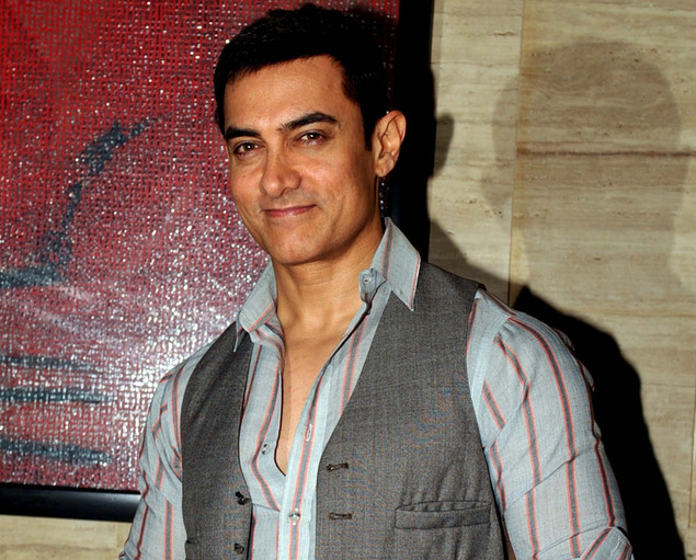 "Indian Bollywood actor Aamir Khan poses during a party event for the Hindi film ""Talaash"" in Mumbai."
