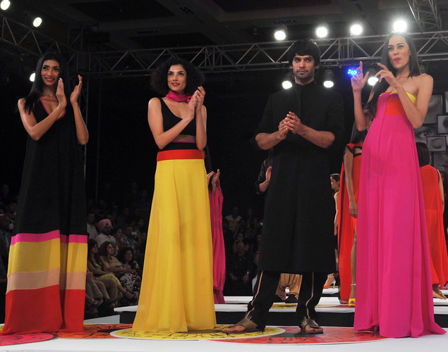 Indian models show creations by Wendell Rodricks at the 8th edition of Seagram's Blenders Pride Fashion Tour 2012 in Mumbai.