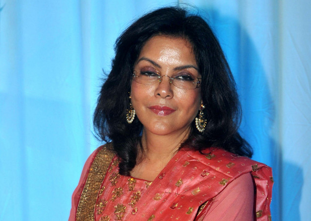 Zeenat Aman poses during the wedding reception ceremony of film actress Esha Deol and husband Bharat Takhtani in Mumbai on June 30, 2012.