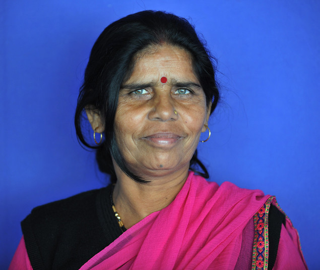 Sampat Pal, founder and leader of the 'Gulabi gang' poses prior to attend the 4th edition of the Women's Forum for the Economy and Society 'Building the future with women's vision' on October 17, 2008 in Deauville.