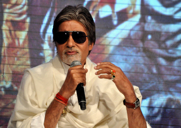 Indian Bollywood actor Amitabh Bachchan attends a promotional event for the forthcoming Hindi action film 'Department'