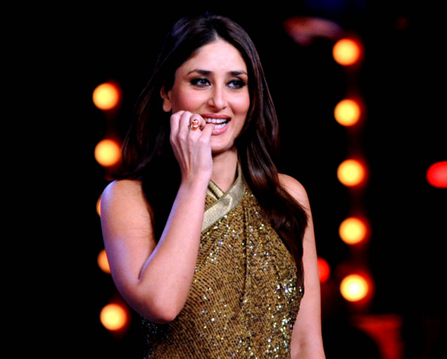 Indian Bollywood actress Kareena Kapoor poses on the set of a television show during the promotion of the forthcoming Hindi film ?Dabbang 2? in Lonavala some 50kms south-east of Mumbai.
