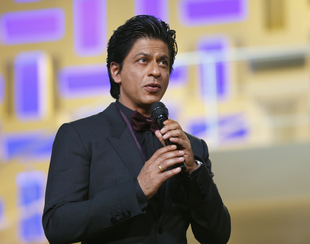 Indian actors Shahrukh Khan speaks during the tribute to Hindi cinema at the 12th Marrakech International Film Festival.