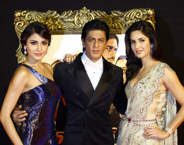 "Bollywood stars Anushka Sharma, left, Shah Rukh Khan, center, and Katrina Kaif pose during the premiere of their film ""Jab Tak Hai Jaan"" or ""As long as I Am Alive"" in Mumbai, India."