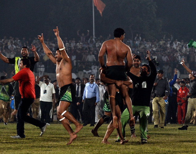 Pakistani kabbadi players celebrate their victory over India during the Kabaddi Asia Cup final match in Lahore. Pakistan won the 2012 Kabaddi Asia Cup final match against India.