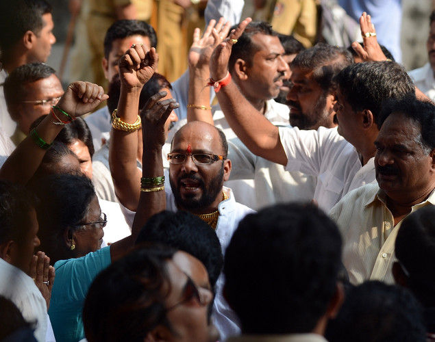Supporters shout slogans outside the residence of ailing right-wing Hindu party Shiv Sena supremo Bal Thackeray in Mumbai.