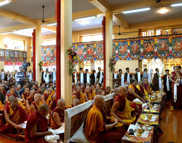 Tibetan Buddhist monks and devotees take part in a prayer meeting conducted by unseen spiritual leader The Dalai Lama at The Namgyal Monastery in Dharamshala.
