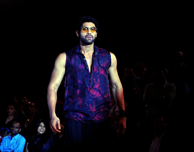 Bollywood actor Rana Daggubati displays a creation by designer Asmita Marwa at the 8th edition of Seagram's Blenders Pride Fashion Tour 2012 in Mumbai.