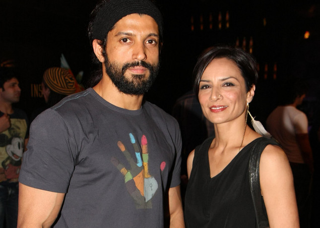 Indian Bollywood actor and director Farhan Akhtar and his wife Adhuna Akhtar