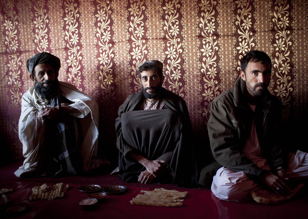 Afghan men gather in a tea house in the center of Lashkar Gah, Helmand province, Afghanistan.