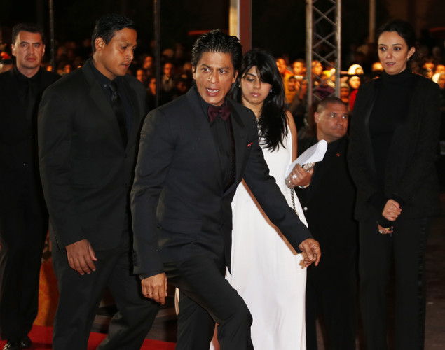 Indian actor Shahrukh Khan (C) arrives at the 12th Marrakech International Film Festival.