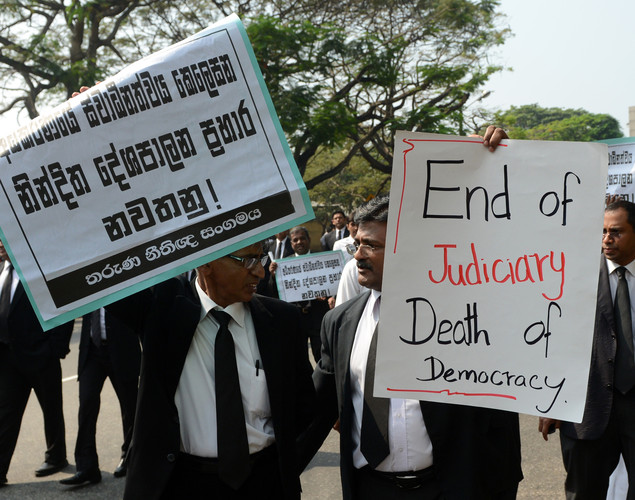 Sri Lankan lawyers protest outside the High Court in Colombo.