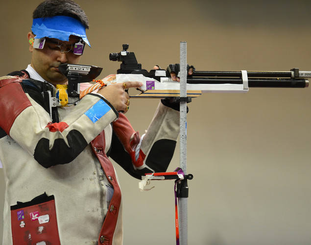Bronze medallist Gagan Narang of India competes in the Men's 10m Air Rifle Shooting final on Day 3 of the London 2012 Olympic Games at The Royal Artillery Barracks on July 30, 2012 in London, England.