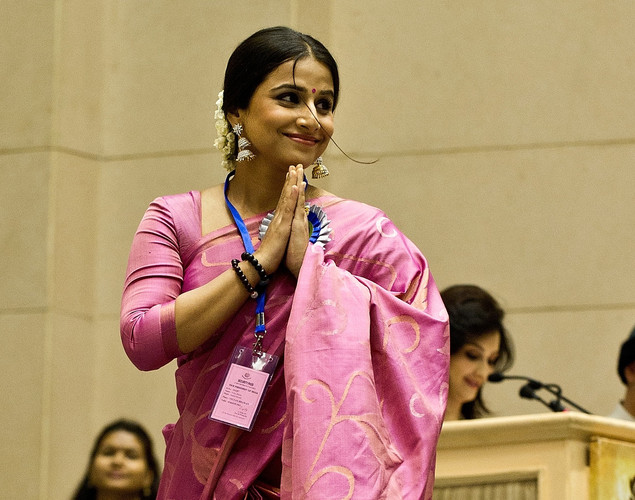 Vidya Balan gestures during the 59th National Film Award in New Delhi.
