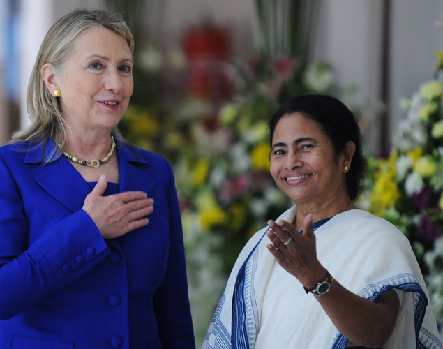 US Secretary of State Hillary Clinton (L) talks with India's West Bengal state Chief Minister Mamata Banerjee at the Writers' Building, which houses the state secretariat, in Kolkata.