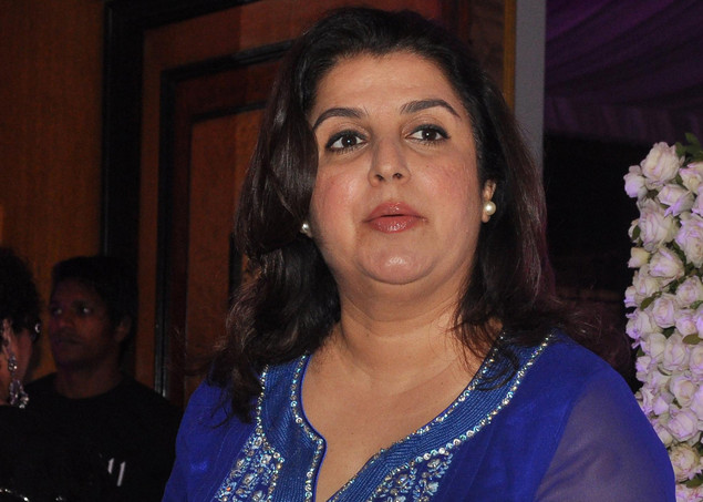 Bollywood choreographer Farah Khan attends the wedding reception of playback singer Sunidhi Chauhan and musician Hitesh Sonik during in Mumbai