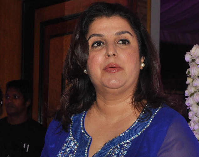 Bollywood choreographer Farah Khan attends the wedding reception of playback singer Sunidhi Chauhan and musician Hitesh Sonik.