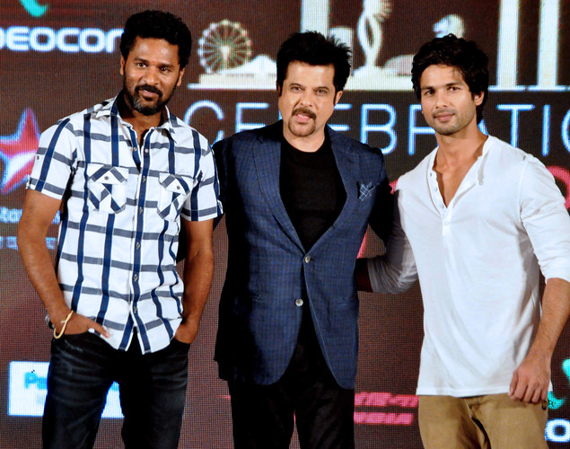 Shahid Kapoor, (R) and Anil Kapoor (C) and choreographer Prabhu Deva attend the press conference for the announcement of the 'IIFA Awards 2012' ceremony in Mumbai.