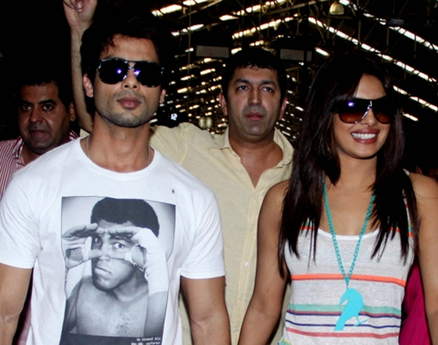 "Bollywood actor Shahid Kapoor (L), director Kunal Kohli (C), and actress Priyanka Chopra (R) arrive for a promotional event for the forthcoming Hindi film ""Teri Meri Kahaani"" in Mumbai."