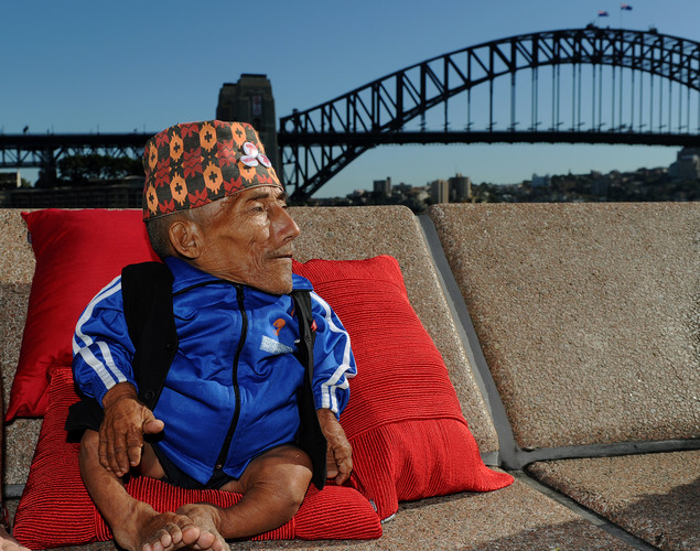 Chandra Bahadur Dangi, the 72-year-old Nepali crowned the 'world's shortest man' by Guinness World Records, speaks during a press conference in front of the Sydney Harbor Bridge at the start of a week of promotional engagements.