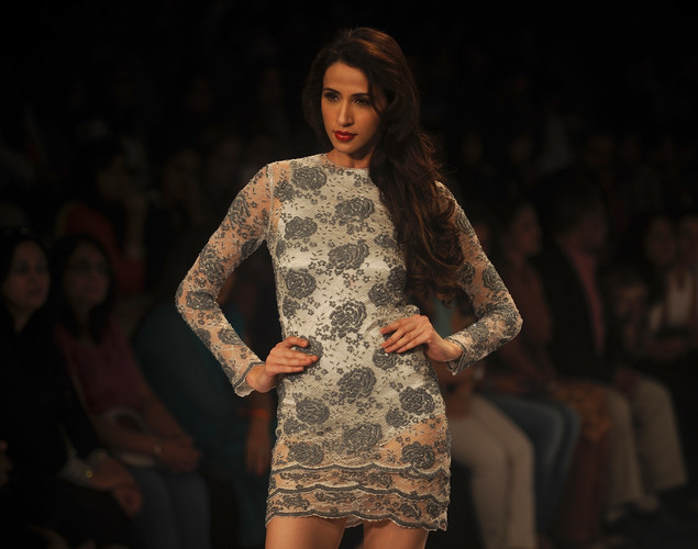 A model showcases a creation by designer Sailex on the final day of Lakme Fashion Week (LFW) winter/festive 2012 in Mumbai on August 7, 2012.