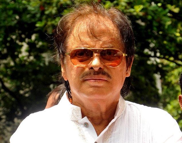 Bollywood actor Sanjay Khan attends the cremation ceremony of late Indian actor Dara Singh in Mumbai.