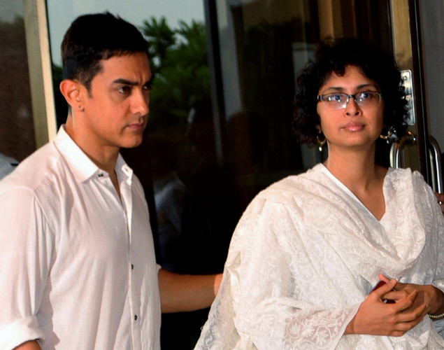 Indian Bollywood actor Aamir Khan with wife Kiran Rao attend a prayer function in memory of late actor Rajesh Khanna in Mumbai.