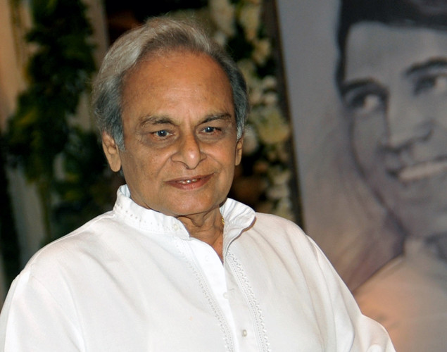 Indian Bollywood music composer Anandji attends a prayer function in memory of late actor Rajesh Khanna in Mumbai.