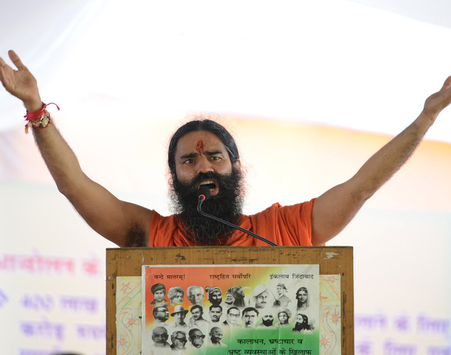 Indian yoga guru Baba Ramdev delivers a speeach during a protest in New Delhi.