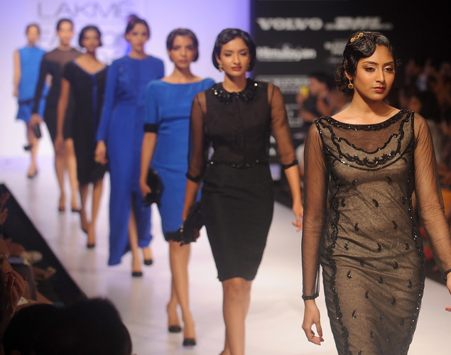 Model showcase creations by Indian designer Komal Sood on the second day of Lakme Fashion Week (LFW) winter/festive 2012 in Mumbai on August 4, 2012.