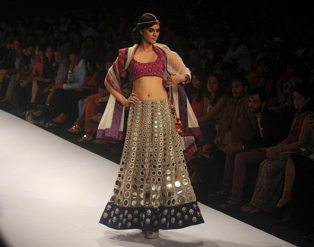 A model showcases a creation by designer Pagal Singhal on the first day of Lakme Fashion Week (LFW) Winter/Festive 2012 in Mumbai on August 3, 2012.