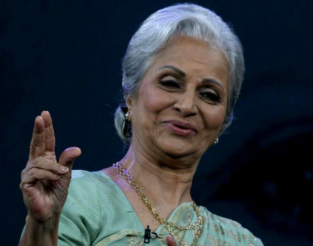 "Waheeda Rehman performs onstage during the NDTV talk show ""Issi Ka Naam Zindagi"" in Mumbai on April 19, 2012."