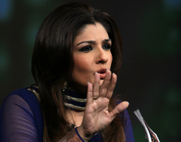 "Indian Bollywood actress Raveena Tandon on the set of NDTV's television show ""Issi Ka Naam Zindagi"" in Mumbai."