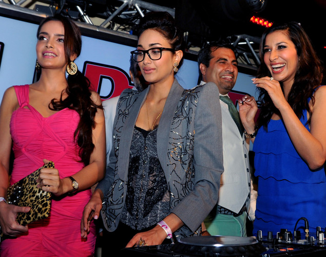 Bollywood personalities Shazahn Padamsee (L), Jiah Khan (2nd L) and Sophie Choudhry (R) attend the DJ Mag launch event in Mumbai.