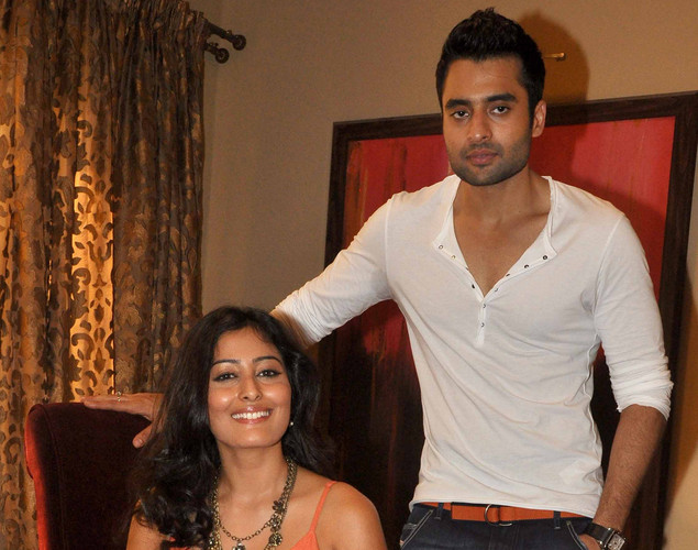 "Jackky Bhagnani (R) and Nidhi Subbaiah pose during a promotional shoot for the Hindi film ""Ajab Gazabb Love"" in Mumbai."