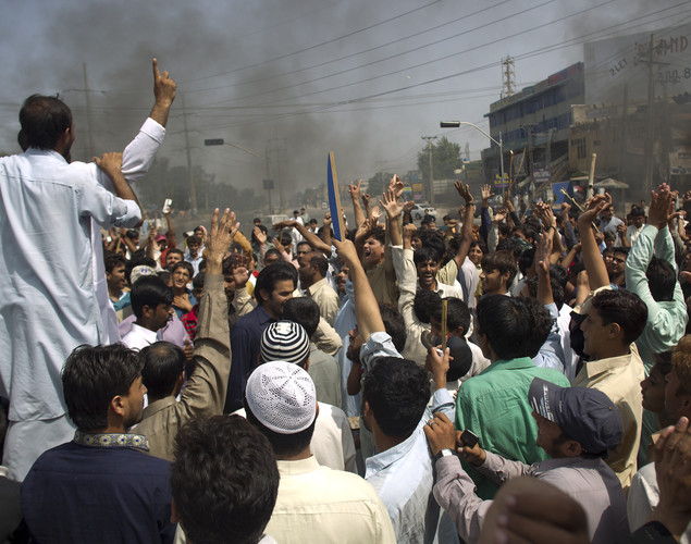 Pakistani protesters shout anti-U.S. slogans at a rally in Rawalpindi, Pakistan.