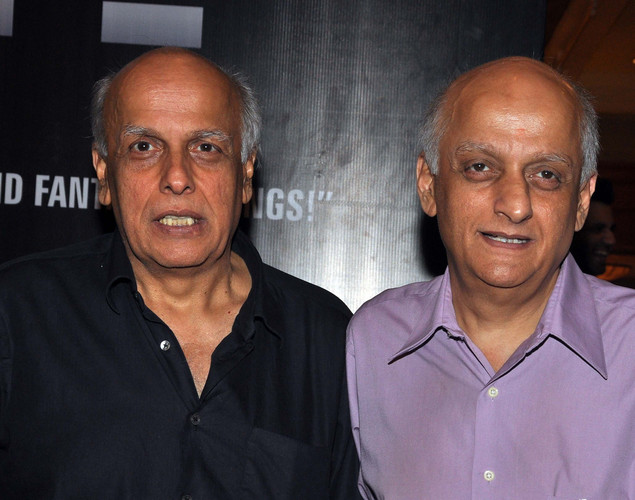 Mahesh Bhatt (L) and Mukesh Bhatt attend the success party for the cast of Hindi film 'Blood Money' in Mumbai.