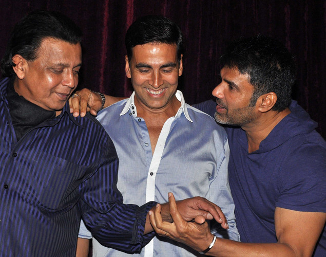 "Mithun Chakraborty, Akshay Kumar and Suniel Shetty pose for a photo during the launch of upcoming Hindi film ""Tukkaa Fitt"" directed by Shawn Arranha in Mumbai."